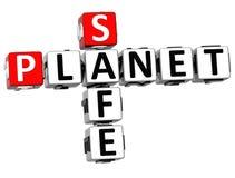3D Safe Planet Crossword. On white backgound Stock Photos