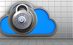 3d safe safe. 3d illustration of cloud with lock over white wall background Royalty Free Stock Photos