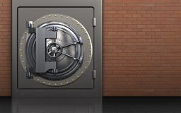 3d safe safe. 3d illustration of metal safe with vault door over red bricks background Stock Photography
