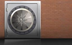 3d safe safe. 3d illustration of metal safe with vault door over red bricks background Stock Photos