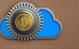 3d safe safe. 3d illustration of cloud with bitcoin safe over bricks wall background Royalty Free Stock Images