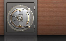 3d safe safe. 3d illustration of metal safe with bank door over red bricks background Royalty Free Stock Image