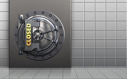 3d safe safe. 3d illustration of metal box with closed vault door over white wall background Stock Photo