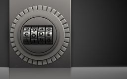 3d safe safe. 3d illustration of metal box with code dial over black background Royalty Free Stock Photography