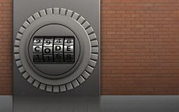 3d safe safe. 3d illustration of metal box with code dial over red bricks background Royalty Free Stock Photography