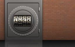 3d safe safe. 3d illustration of metal safe with code lock door over red bricks background Stock Photos