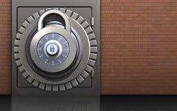 3d safe safe. 3d illustration of metal safe with lock over red bricks background Stock Photo