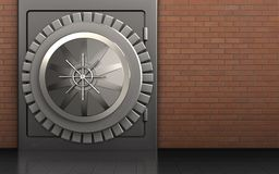 3d safe safe. 3d illustration of metal safe with vault door over red bricks background Stock Photo