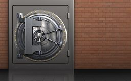 3d safe steel door. 3d illustration of metal safe with steel door over red bricks background Royalty Free Stock Image