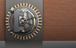 3d safe vault door. 3d illustration of metal box with vault door over red bricks background Royalty Free Stock Photography