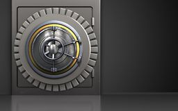 3d safe wheel door. 3d illustration of metal safe with wheel door over black background Royalty Free Stock Photography