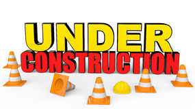3d safety cones and under construction text Stock Photo