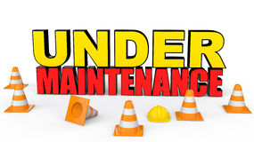 3d safety cones and under maintenance text Royalty Free Stock Photos
