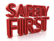 3d Safety First text isolated over white background. In the design of information related to the protection Royalty Free Stock Photography