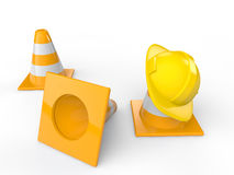 3d safety helmet and construction cones Stock Photo