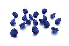 3D safira - 18 gemas azuis Imagem de Stock