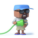 3d Sailor dude holding a green power lead Stock Photo