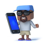 3d Sailor dude holding a smartphone device Royalty Free Stock Photos