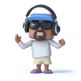 3d Sailor dude listens to his headphones Royalty Free Stock Image