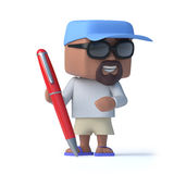 3d Sailor dude with a pen Royalty Free Stock Photography