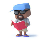 3d Sailor dude reads a red book. 3d render of a man dressed to go yachting reading a red book Royalty Free Stock Photography