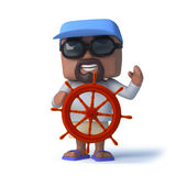 3d Sailor dude steers with the ships wheel Stock Images