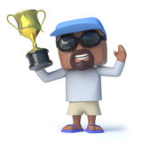 3d Sailor dude wins the gold trophy Stock Photography