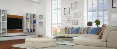 3d - sala de estar moderna - 41 tirados Foto de archivo