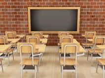 3d sala lekcyjna z krzesłami i chalkboard Royalty Ilustracja