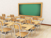 3d sala lekcyjna z krzesłami i chalkboard Ilustracji