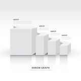 3d saldo het diagram van de van de bedrijfs pijltrap stap witte kleur Royalty-vrije Stock Foto's