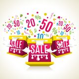 3D sale-boxes. Discounts eposion. Shopping celebtation. Vector illustration Stock Image