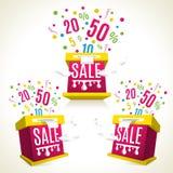 3D sale-boxes. Discounts. Shopping celebration Stock Photos
