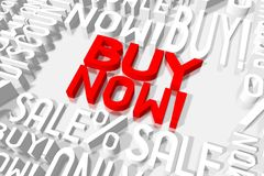 3D sale concept - buy now!. 3D red and white words on white background - `buy now Stock Image