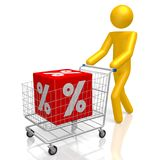 3D sale concept. Cartoon character, shopping cart, percentage sign Royalty Free Stock Image