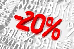 3D sale -20%. 3D red and white words on white background - `-20 Royalty Free Stock Photos