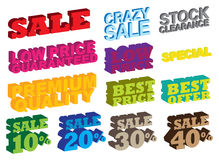 3D sale messages Royalty Free Stock Photography