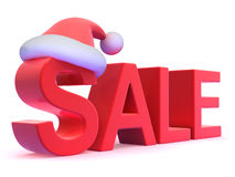 3d Sale with Santa Claus hat Royalty Free Stock Photo