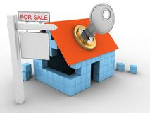 3d sale sign. 3d illustration of block house over white background with key and sale sign Royalty Free Stock Photos