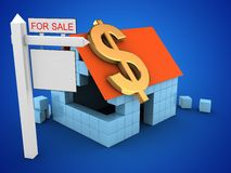 3d sale sign. 3d illustration of block house over blue background with dollar sign and sale sign Stock Photos