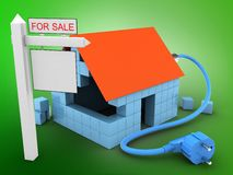 3d sale sign. 3d illustration of block house over green background with power cable and sale sign Royalty Free Stock Image