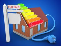 3d sale sign. 3d illustration of bricks house over blue background with power ranks and sale sign Stock Photo