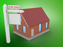 3d sale sign. 3d illustration of bricks house over green background with sale sign Royalty Free Stock Photography