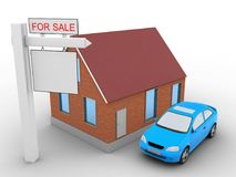 3d sale sign. 3d illustration of bricks house over white background with car and sale sign Royalty Free Stock Image
