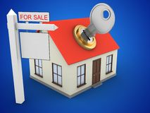 3d sale sign. 3d illustration of generic house over blue background with key and sale sign Royalty Free Stock Photography