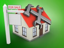 3d sale sign. 3d illustration of generic house over green background with repair symbol and sale sign Royalty Free Stock Image