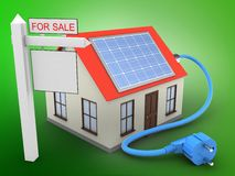 3d sale sign. 3d illustration of generic house over green background with solar power and sale sign Royalty Free Stock Images