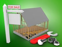 3d sale sign. 3d illustration of house frame over green background with wrench and sale sign Stock Photos