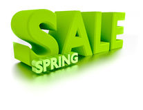3d sale spring text letters render. Discount royalty free illustration