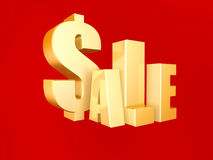 3d sale symbol. On red background Royalty Free Stock Image